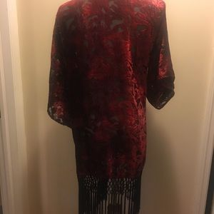 Red crushed velvet lace fringe trim kimono size 4
